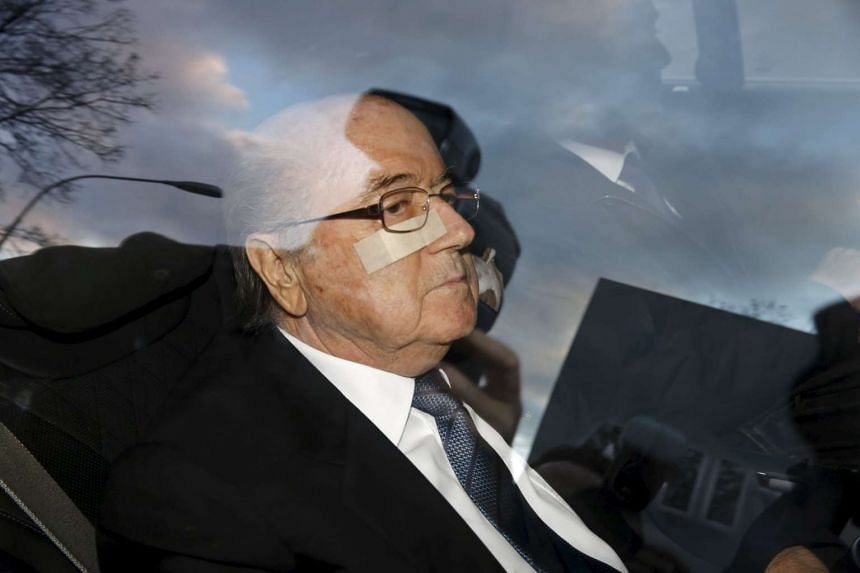 Blatter arrives at Fifa headquarters in Zurich.