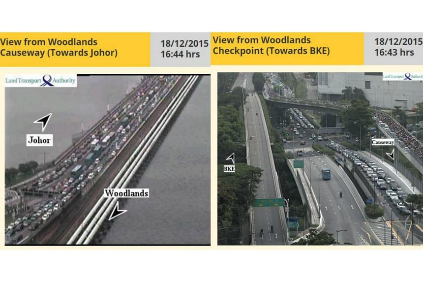 Screengrabs from traffic cameras showing jams around the Causeway.