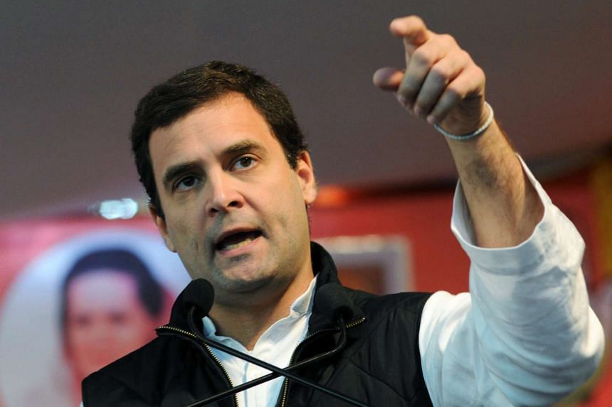 Rahul Gandhi, delivers a speech during a protest by tea plantation workers in New Delhi, India on Dec 16, 2015.