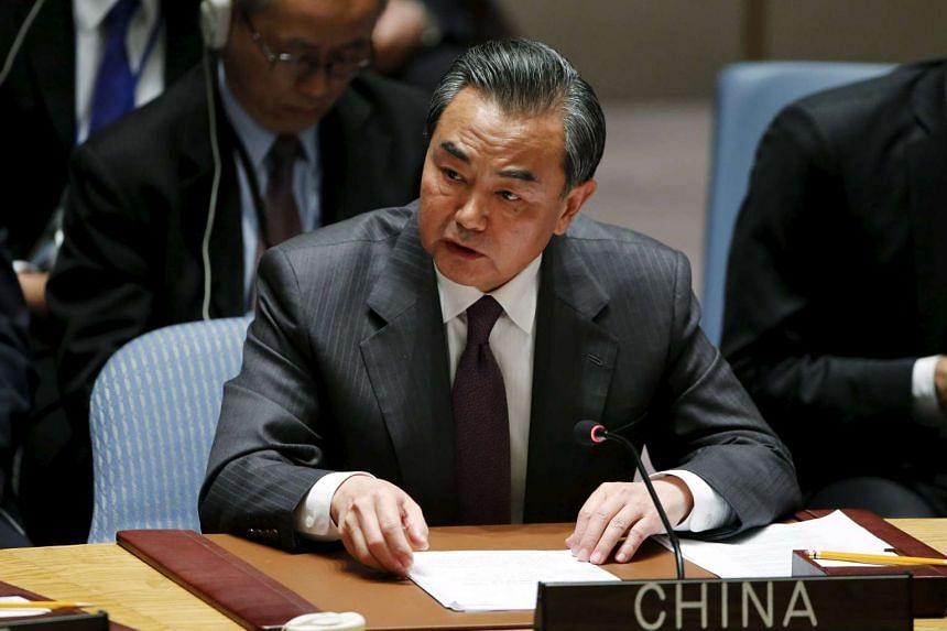 Chinese Foreign Minister Wang Yi speaking at the Security Council at the United Nations Headquarters in Manhattan.