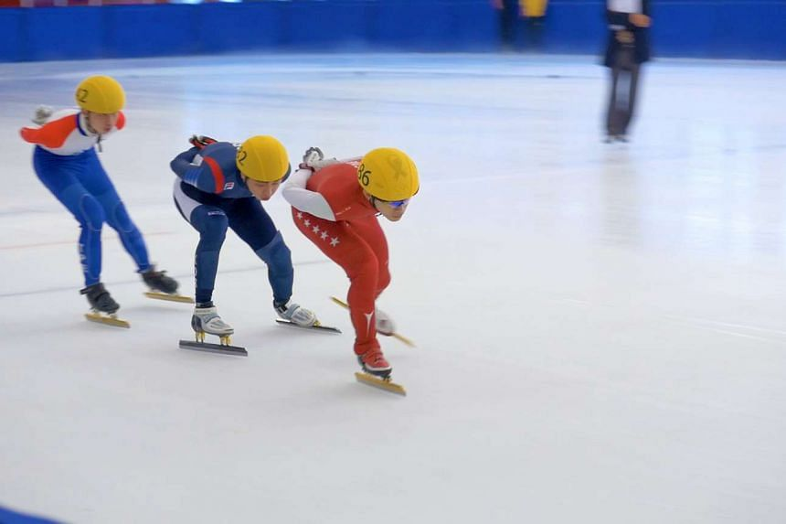 Lucas Ng taking part in the Asian Open Short Track Speed Skating Trophy, where he won three bronze medals.