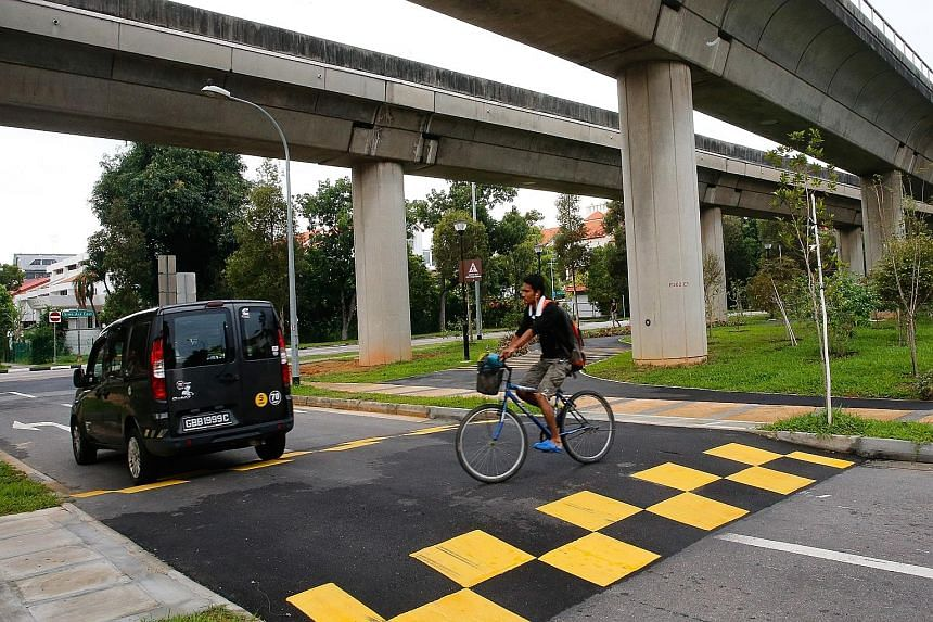 "One of the new crossings in Lorong Mydin. These ""continuous sidewalks"" have also been built along the PCN in Tampines and Alexandra."