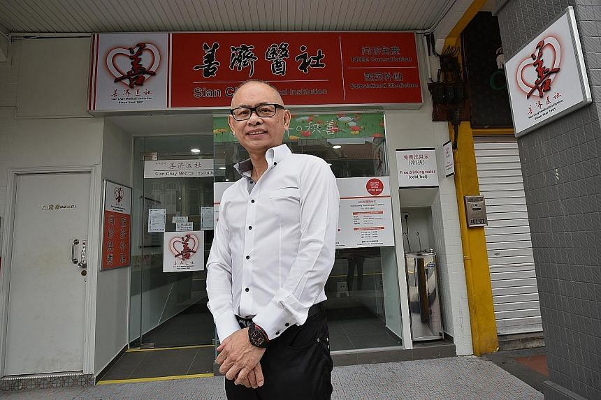 Mr Toh Soon Huat outside the Sian Chay Medical Institution clinic in Geylang Road for treatment of depression and insomnia cases, which will be opened officially next month. He hopes to have 20 clinics by 2018 to cover most of the heartland. Sian Cha