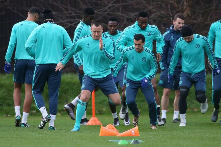 Chelsea's John Terry and Pedro during training.
