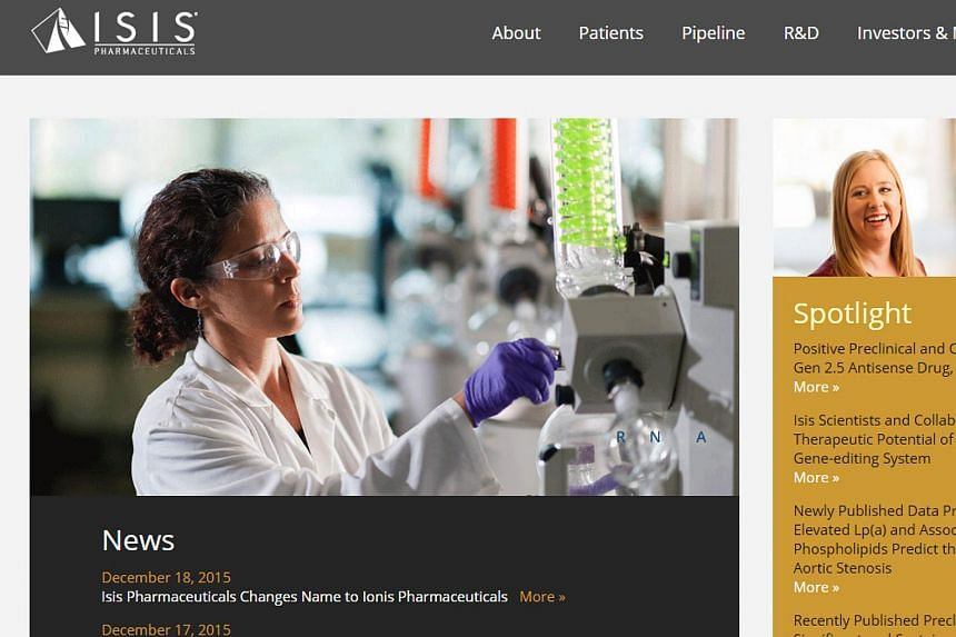 A screengrab of Isis Pharmaceuticals' website on Dec 19 showing an announcement of the name change.