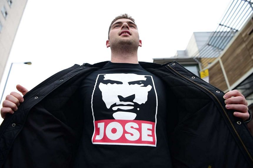 A fan pays tribute with a Mourinho T-shirt.