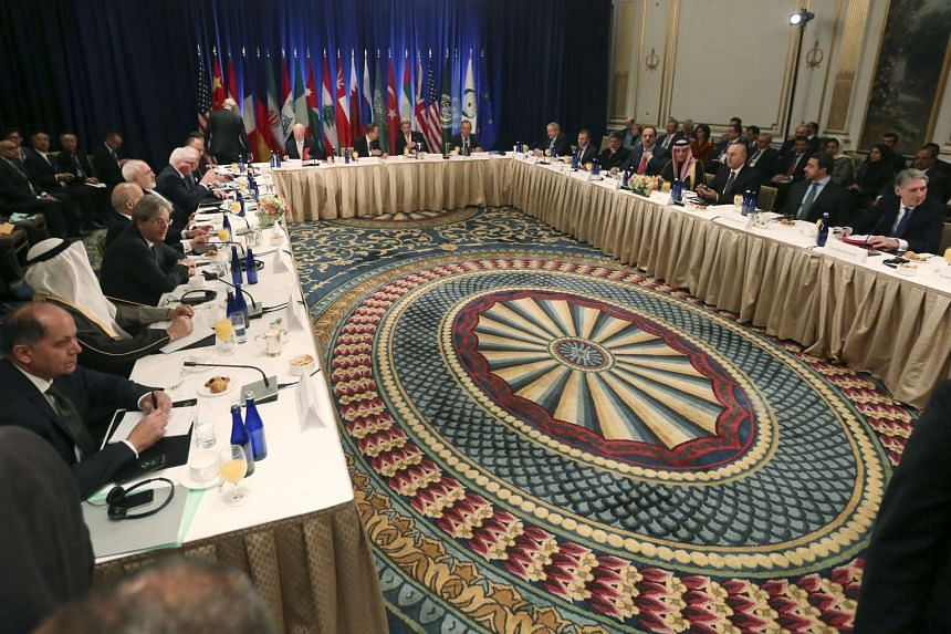 Foreign ministers meet regarding the situation in Syria at the Palace Hotel in Manhattan.