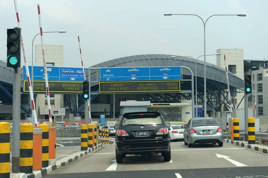 The Singapore Immigration and Checkpoints Authority at Tuas Second Link checkpoint, as seen from Johor, Malaysia.