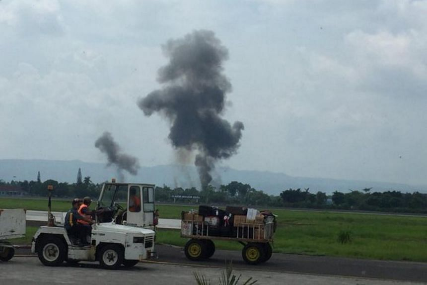 Two pilots were killed when an Indonesian military plane crashed in central Java, local media reported.