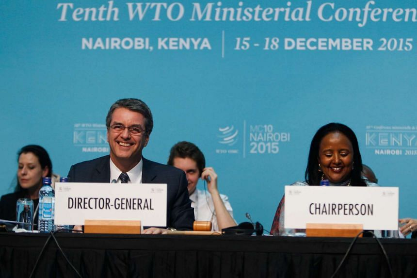 WTO director-general Roberto Azevedo (left) and Kenyan Foreign Minister Amina Mohamed speaking at the closing of the WTO ministerial conference in Nairobi, Kenya, on Dec 19, 2015.