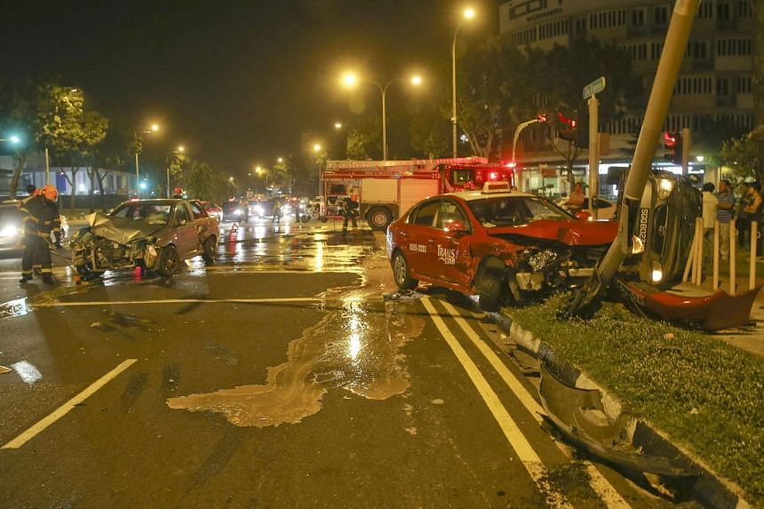 The accident at the junction of Changi Road and Still Road involved three cars and a taxi, police said.