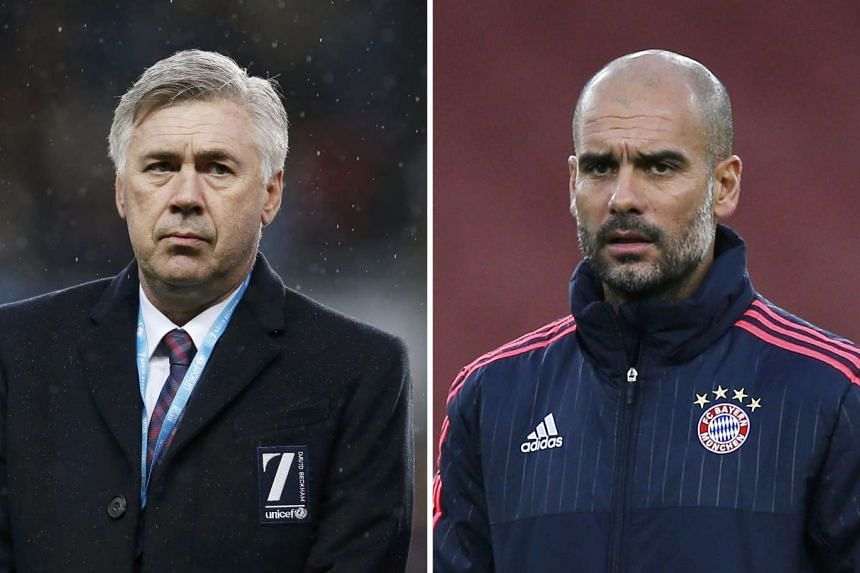 Carlos Ancelotti (left) will be replacing Pep Guardiola as head coach of Bayern Munich at the end of the season.