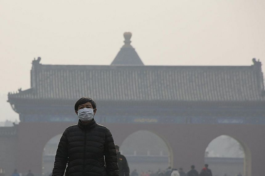 A visitor to the smog-shrouded Temple of Heaven park in Beijing taking the weather station's advice to heart and wearing a protective mask yesterday.