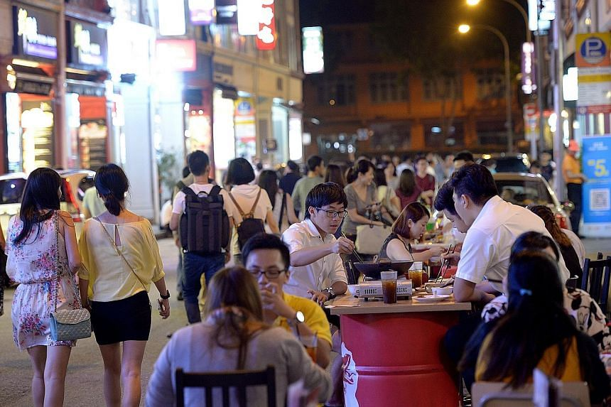 Liang Seah Street in Bugis is the latest street to go car-free on weekend nights.There are currently six weekly zones in effect.