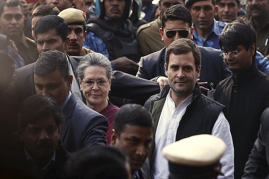 Mrs Sonia Gandhi and her son Rahul are accused of illegally using party funds to acquire assets of the National Herald newspaper.