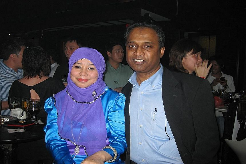Ms Everarda (far left) gave money to Thomas Subramaniam and his wife Hameedah Bee Abdul Jaffar (both left) for help in marketing her yoga book and for property investment.