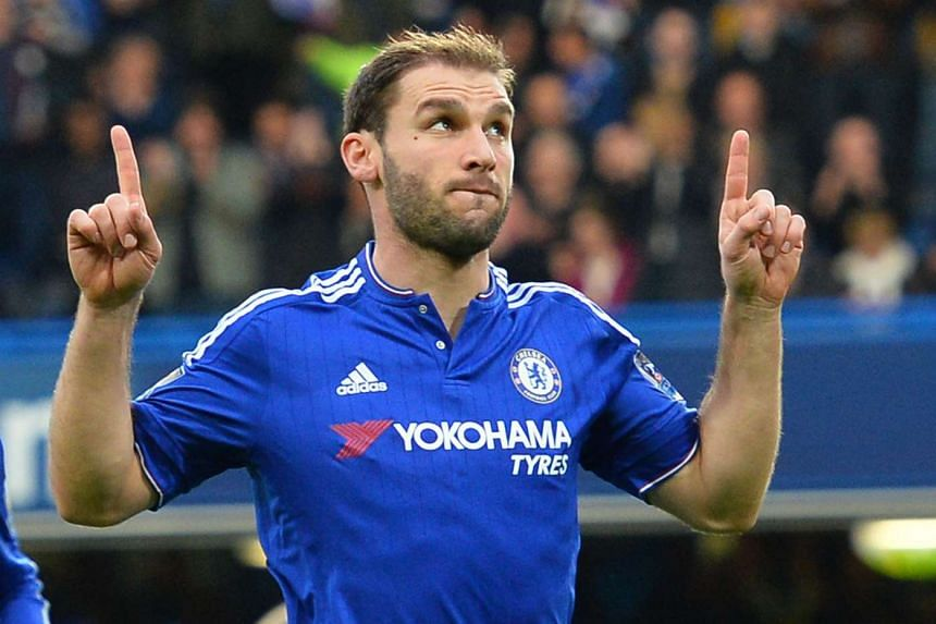 Chelsea's Serbian defender Branislav Ivanovic celebrates after scoring.