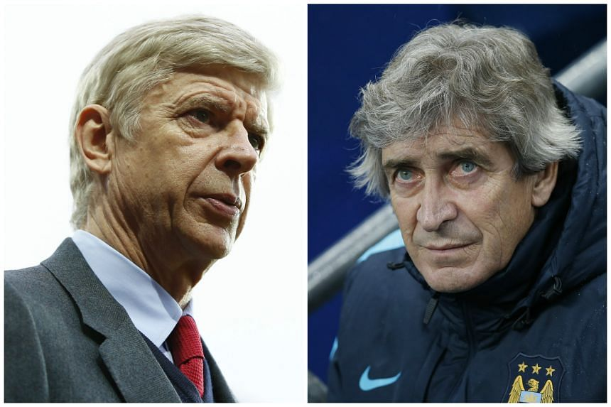 Arsene Wenger (left) and the Gunners will be playing host to Manchester City and head coach Manuel Pellegrini on Monday, Dec 21, 2015.