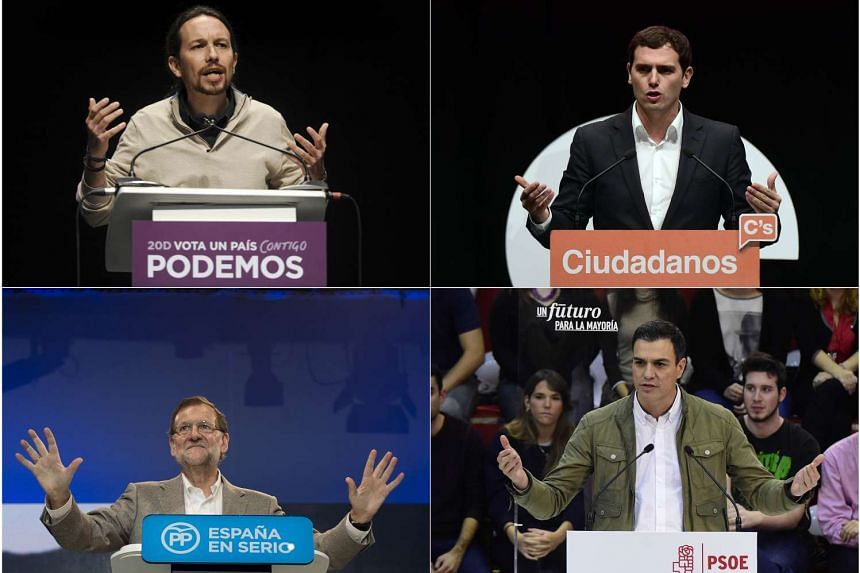 (Left to right, top to bottom) left wing party Podemos leader Pablo Iglesias, Centre-right party Ciudadanos leader Albert Rivera, Spanish Prime Minister and Popular Party (PP) leader, Mariano Rajoy, and Spanish Socialist Party (PSOE) leader, Pedro Sa