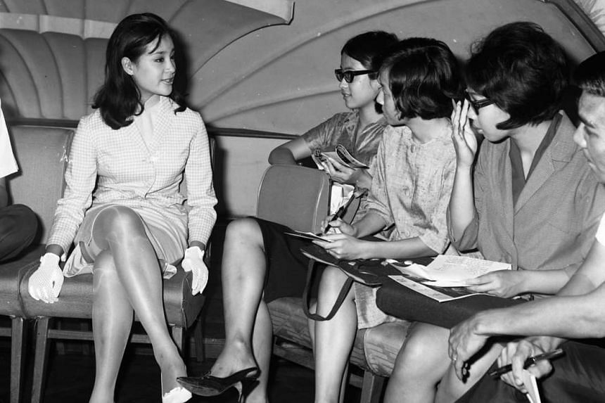 Chiang Ching during a press conference in Singapore in 1965. She was in town for stage appearances for the movie Trouble On Wedding Night.