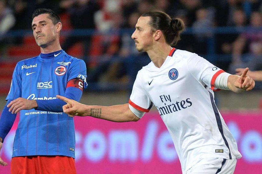 Zlatan Ibrahimovic (right) celebrates after scoring.
