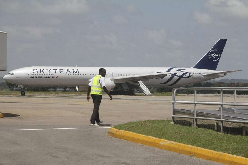 Air France flight 463 sits parked at Moi International Airport in the Kenyan coastal city of Mombasa on Dec 20, 2015.