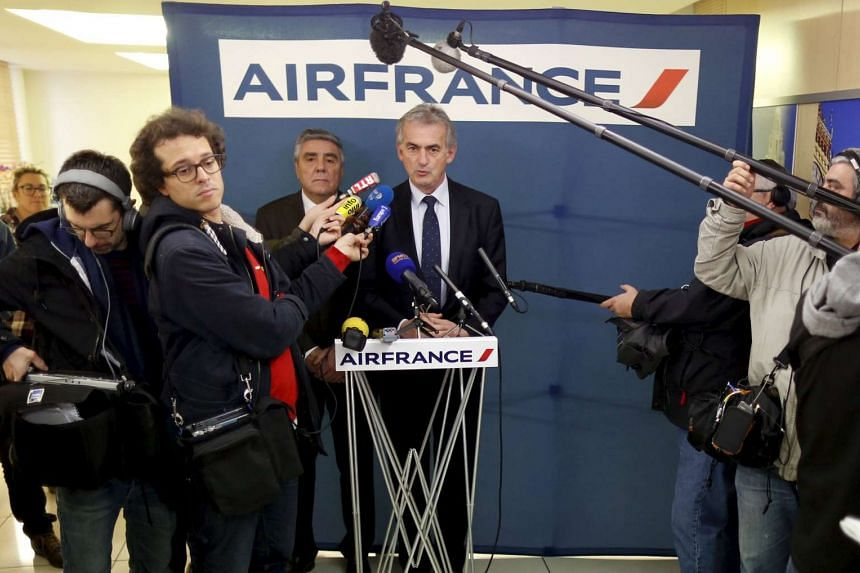 Airfrance Chief Executive Frederic Gagey speaks during a news conference in Paris on Dec 20, 2015.