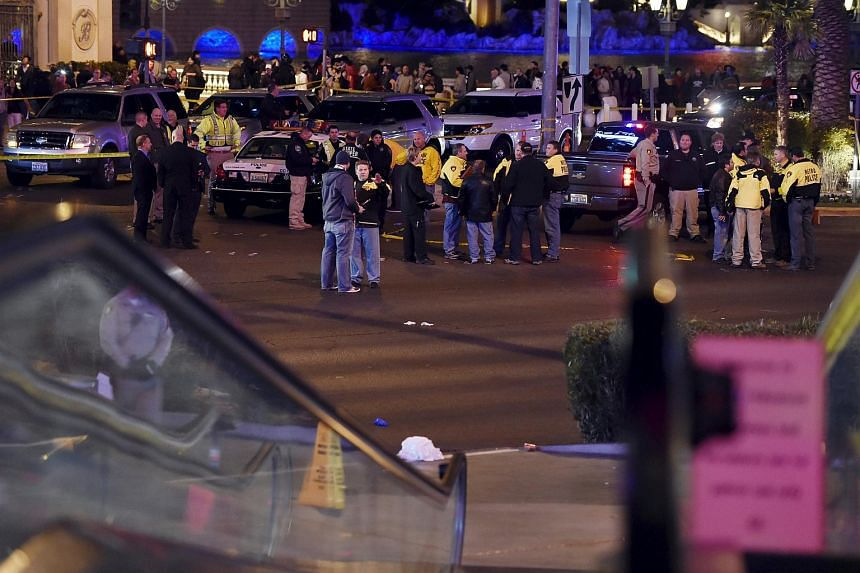 Las Vegas police investigate following a traffic accident in front of the Planet Hollywood Hotel in Las Vegas.