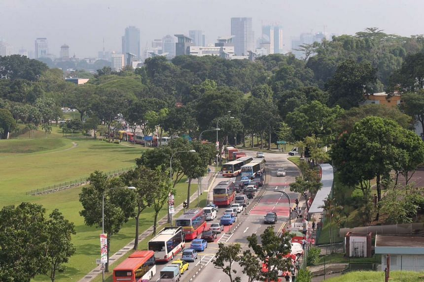 A heavy traffic jam at the Causeway for vehicles heading into Malaysia from Singapore seen along Woodlands Centre Road.