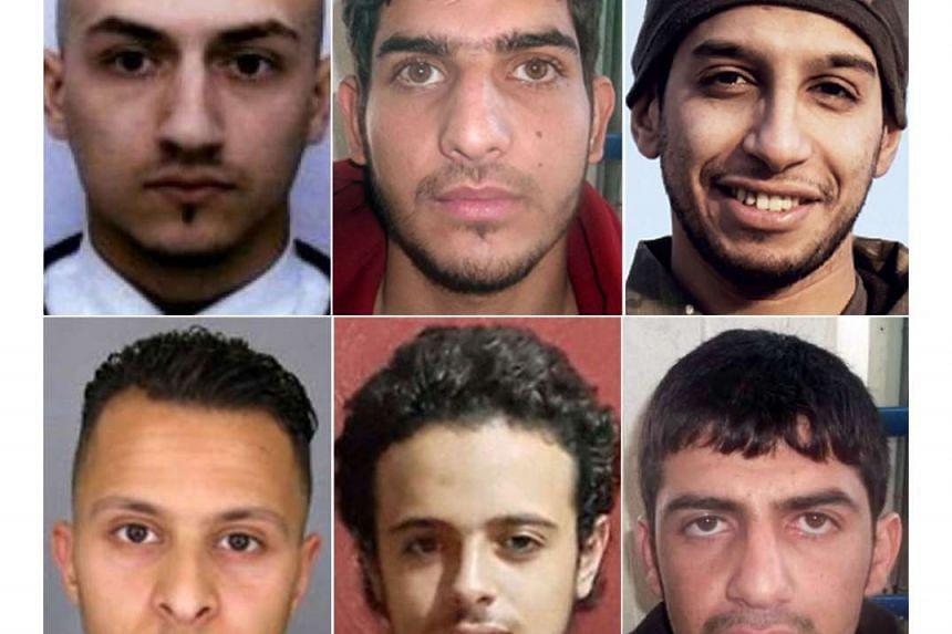 This combination of photos shows the suspected mastermind of the Nov 13, 2015 Paris attacks, 28-year-old Belgian IS group leading militant Abdelhamid Abaaoud (top right). Suspect at large French Salah Abdeslam is shown at the bottom left.