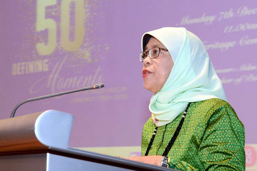 Halimah Yacob speaking at the book launch of 50 Defining Moments for Malay/Muslim Community at the Malay Heritage Centre.