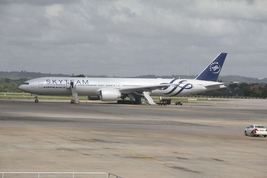 The Boeing 777 Air France flight 463 parked at Moi International Airport in Kenya.