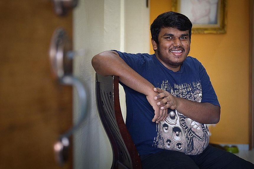 A former Normal (Technical) student, Mr Ramki Murugiah is now among the pioneer batch of students in ITE's three-year enhanced Nitec programme, which gives students with a slower learning pace more time to absorb the lessons. He is studying facility