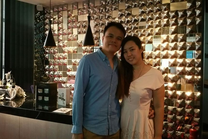 Mr Tan Jun Jie and his fiancee Miss Pot Mei Qing celebrating their second anniversary together on Dec 20, 2015.