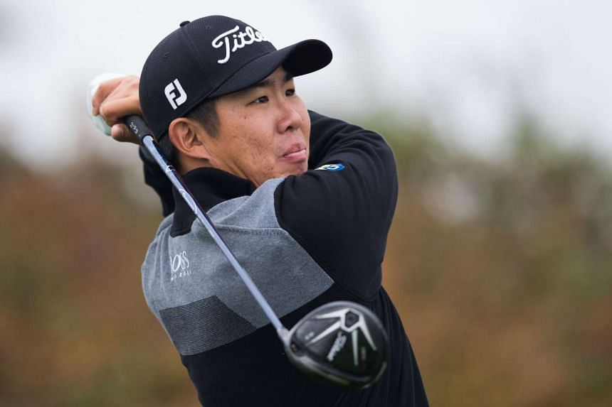 South Korea's An Byeong Hun tees off during the BMW Shanghai Masters golf tournament on Nov 13, 2015.