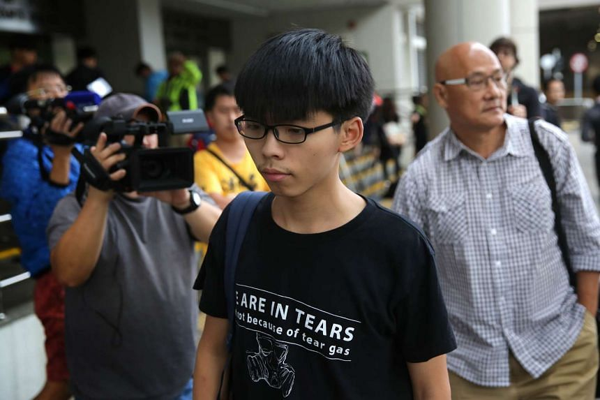 Pro-democracy activist Joshua Wong leaving the Eastern Law Courts in Hong Kong on Nov 20, 2015.