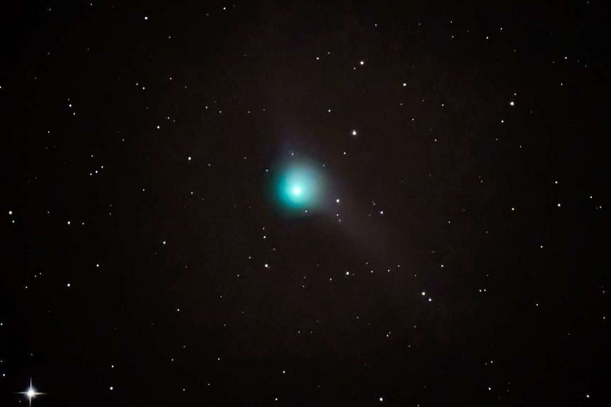 An image of comet C/2013 US10 captured near Somoskoujfalu, northeast of Budapest, Hungary, Dec 14, 2015.