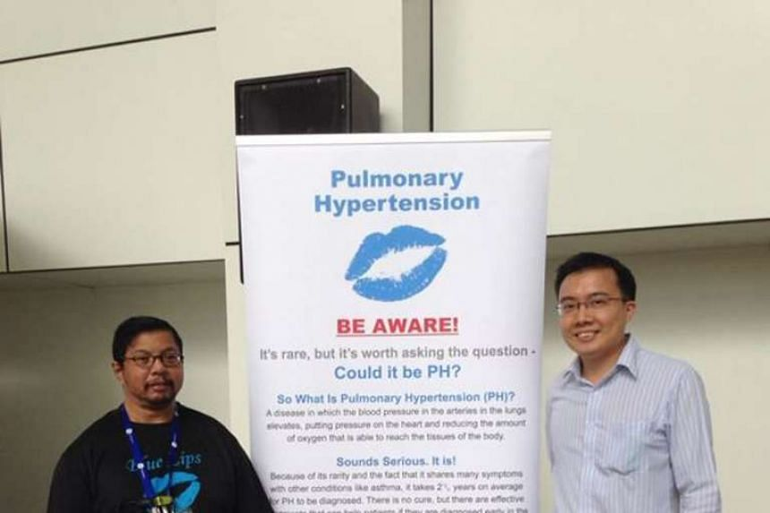 Mr Mohd Amin Haji S.S. Mubaruk (left), 51, suffers from a type of high blood pressure in the lungs known as pulmonary arterial hypertension. He and his friend David Lim, a 33-year-old business development manager, are committee members of a support g