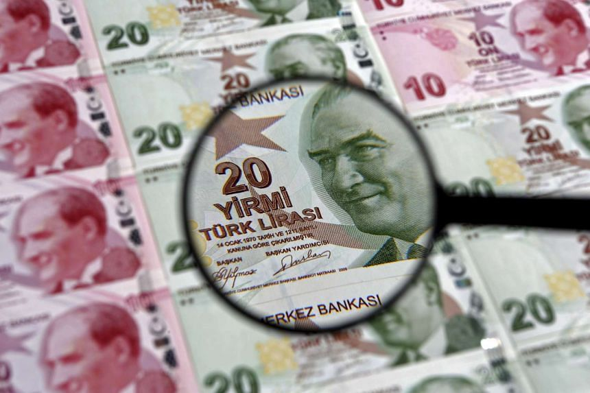 A file photo illustration shot in Istanbul, Turkey of a 20 lira banknote seen through a magnifying lens, on Jan 28, 2014.