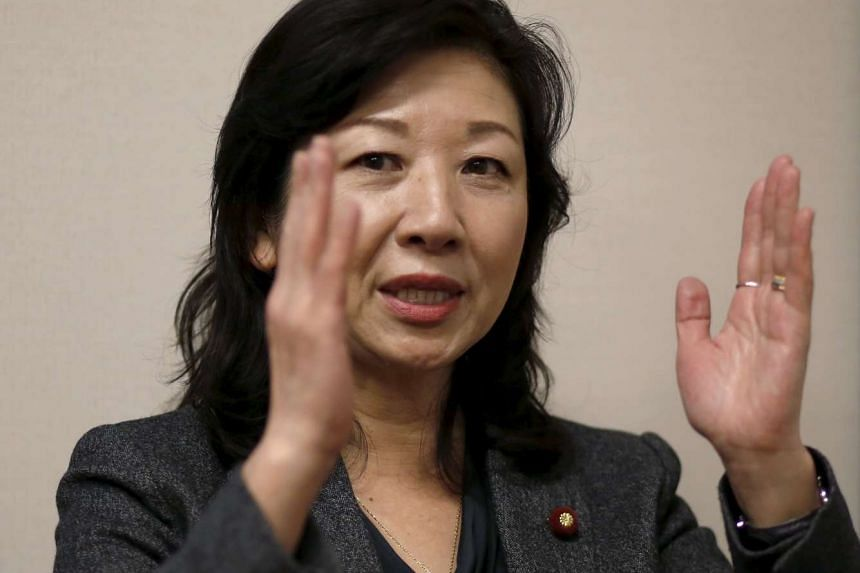 LDP policy chief Seiko Noda speaking to the media in her office on Dec 21, 2015.