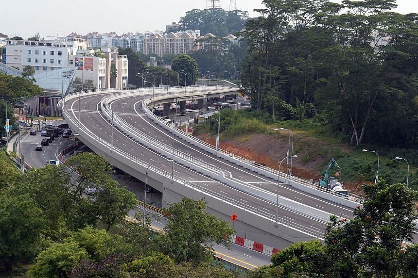 Construction for Hillview flyover started in the second half of 2011. Motorists can start using it from 8am on Dec 27. It is part of LTA's road improvement project to enhance parts of Upper Bukit Timah Road and Woodlands Road. ST PHOTO: AZIZ HUSSIN