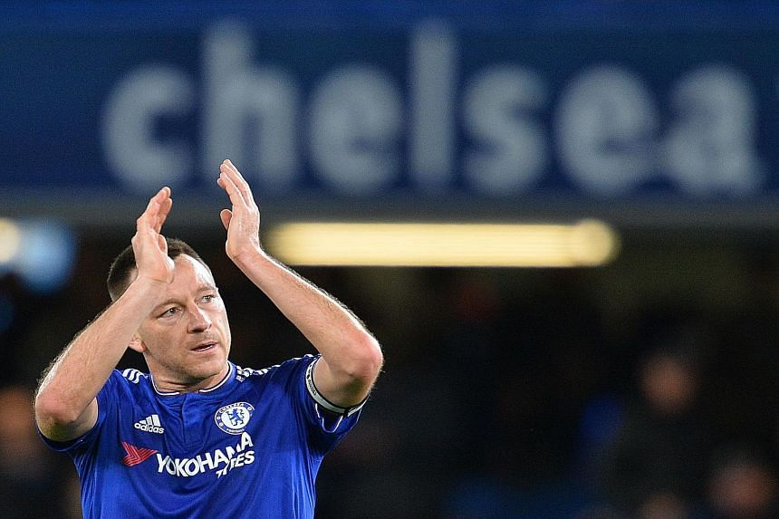 John Terry acknowledging the fans after Chelsea's 3-1 victory against Sunderland on Saturday. He expressed sympathy for the situation faced by Jose Mourinho and said that the players' performances were unacceptable.