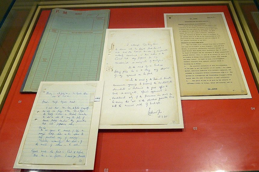 """Recently de-classified top secret Cabinet papers, kept in a file code-named Albatross, on display at the National Museum. These were personally compiled by Dr Goh Keng Swee and included documents discussing proposed """"constitutional rearrangements"""" be"""