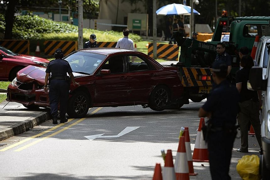 The car involved in the shooting incident near the Shangri-La Hotel on May 31. Back-seat passenger Syahid, who had drugs in his possession, had shouted at the driver to go after the car stopped at a police roadblock.