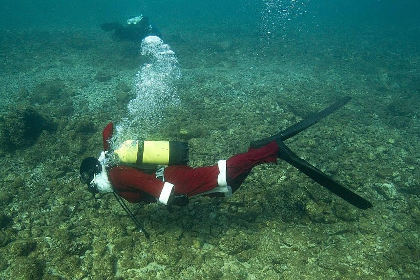 It is the season for celebrating - on land or under water - as this diver explored the Adriatic Sea off the coast of Selce, Croatia, on Saturday.