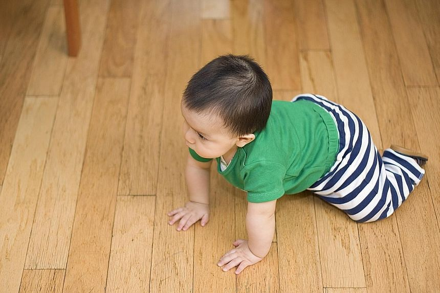Babies should practise crawling and walking on a firm surface, say the experts. When parents place their baby on a mattress, the soft surface changes the way his natural movement develops as he cannot get a firm grip to move and explore, explains reh