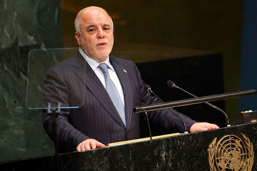 Iraqi Prime Minister Haider al-Abadi addressing the United Nations General Assembely on Sept 30, 2015 in New York City.