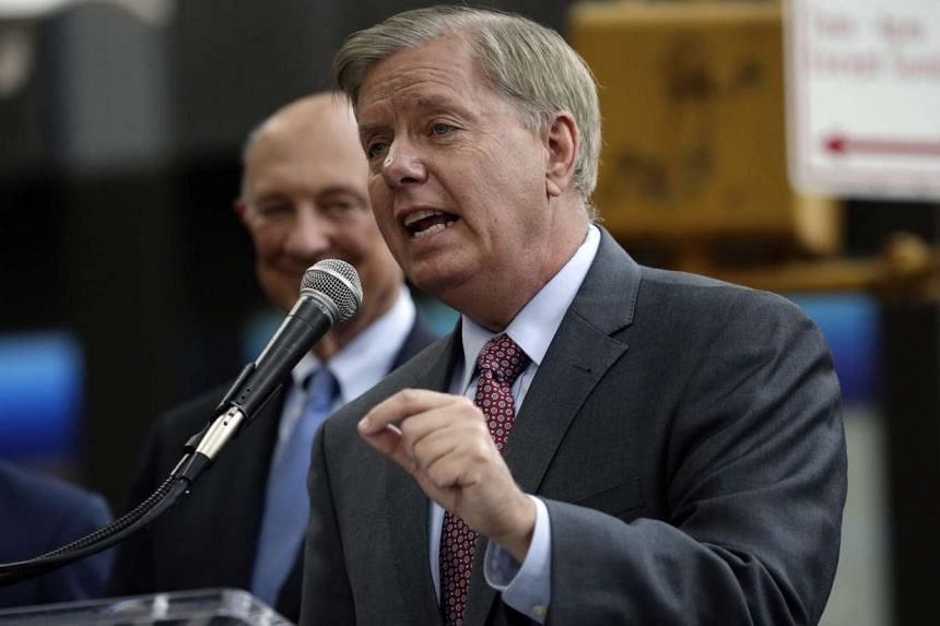 US Senator Lindsey Graham speaking at a 'Stop Iran Rally' in New York in September.