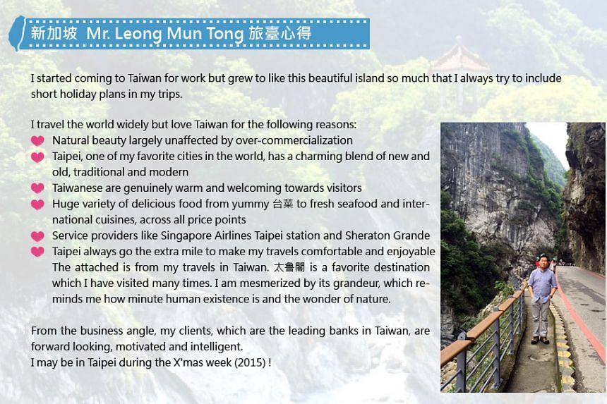 """Mr Leong was named the most fervent """"Taiwan fan"""" from Singapore."""