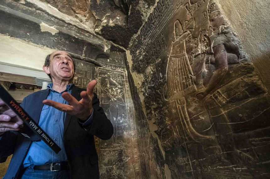 French archaeologist Alain Zivie inside the tomb of Maia, the wet nurse of Egyptian boy king Tutankhamun.